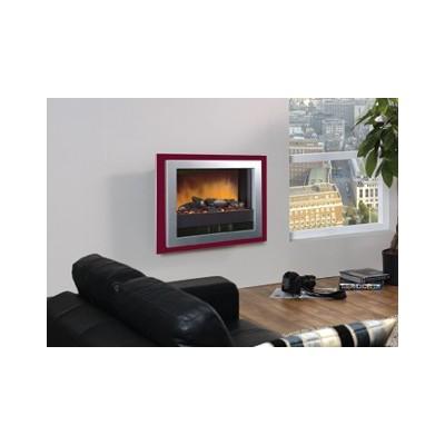 Bizet - nástěnný elektrický krb Dimplex rám červený nebo stříbrný