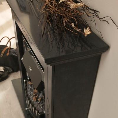 Elektrický krb Montana s černo šedým mramorovým ostěním