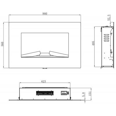 Etela- nástěnný elektrický krb LED