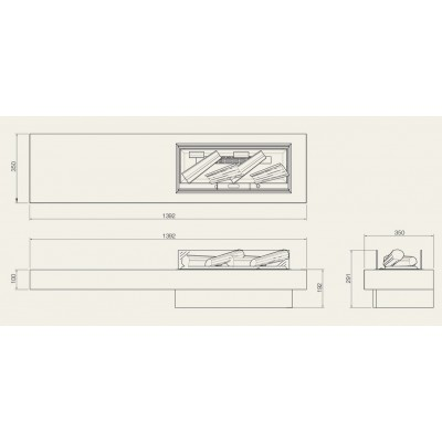 Concrete shelf - elektrický krb Dimplex s Opti-myst