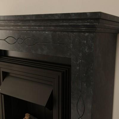 Elektrický krb Worcester s mramorovým ostěním v černo/šedé