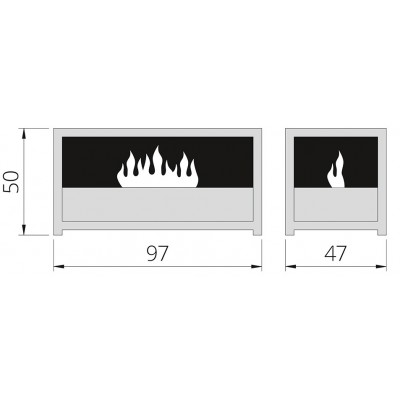 Čertova lavice L - elektrický krb THE FLAME Opti-myst