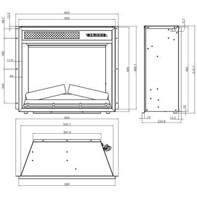 rozměry-krbová vložka Aflamo LED 60